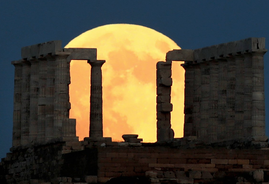 The moon in Athens, Greece